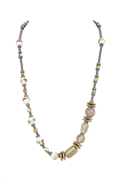 Long Ceramics Wooden Beads Necklaces N3321