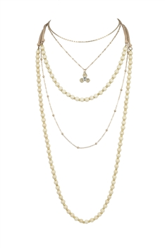 Glamour Fashion Women's Multi-Layer Necklaces N3322 - Beige