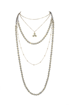 Glamour Fashion Women's Multi-Layer Necklaces N3322 - Grey