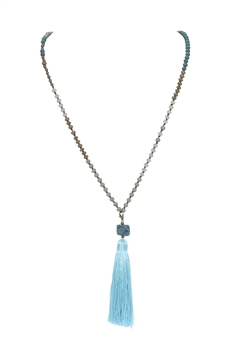 Crystal Agate Tassel Necklace N3333 - Blue