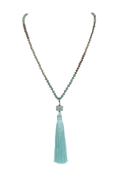 Crystal Agate Tassel Necklace N3333 - Green