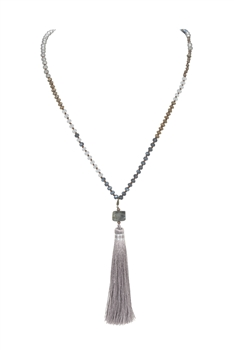 Crystal Agate Tassel Necklace N3333 - Grey