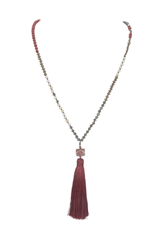 Crystal Agate Tassel Necklace N3333 - RED