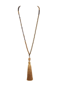 Crystal Agate Tassel Necklace N3333 - Yellow