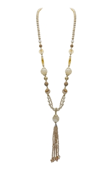 Fossil Bead Crystal Tassel Necklace N3334