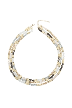 Multi-layer Crystal Bead Wooden Necklace N3335