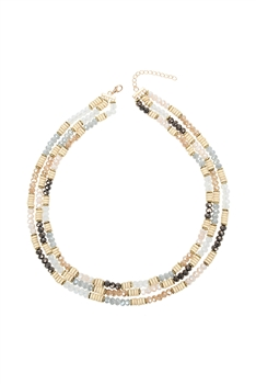 Multi-layer Crystal Bead Wooden Necklace N3335 - Beige