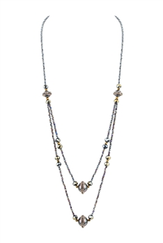 Double Layers Crystal Stone Necklace N3339 - Black