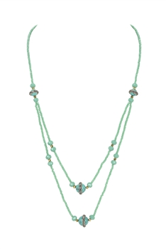 Double Layers Crystal Turquoise Necklace N3339 - Green