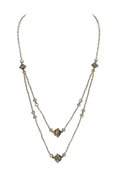 Double Layers Crystal Tigers Eye Necklace N3339 - Grey