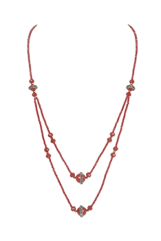 Double Layers Crystal Stone Necklace N3339 - RED