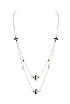 Double Layers Crystal Stone Necklace N3339 - White