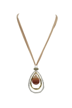Leatherette Rope Agate Double Circles Necklaces N3344