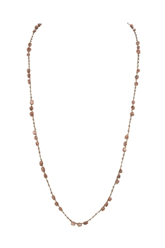 Simple Stone Long Necklaces N3354 - Gold Sand Stone