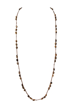Simple Stone Long Necklaces N3354 - Tiger Eye