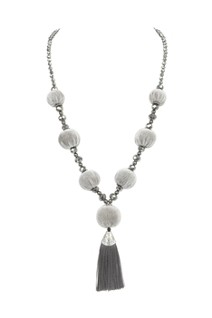 Pompom Tassel Metal Necklace n3356