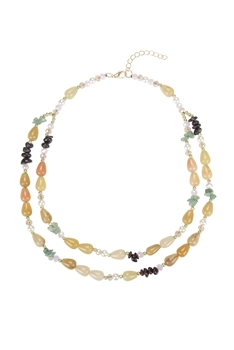 Charming Natural Stone Short Necklaces N3357 - Gold Jade