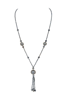 Pearl Tassel Pendant Necklaces N3366 - Black