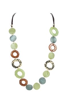 Acrylic Hollow Loop Necklace N3387 - Green