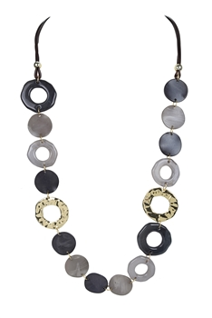 Acrylic Hollow Loop Necklace N3387 - Grey