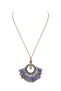 Leatherette Tassel Metal Necklaces N3388 - Multi