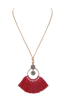 Leatherette Tassel Metal Necklaces N3390 - Red