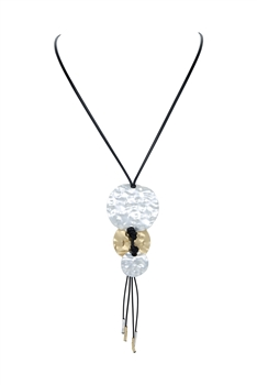 Metal Pendant  Tassel Leatherette Necklaces N3397 - Silver