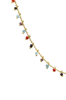 Sea Bead Chain Necklace N3404-18INCHES - Blue