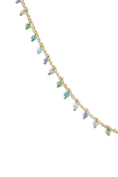 Sea Bead Chain Necklace N3404-18INCHES - Green