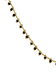 Sea Bead Chain Necklace N3404-30INCHES - Black