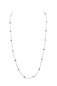 Crystal Chain Necklace N3405 - RED