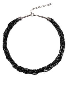 Crystal Beaded Multi Layer Necklaces N3408 - Black