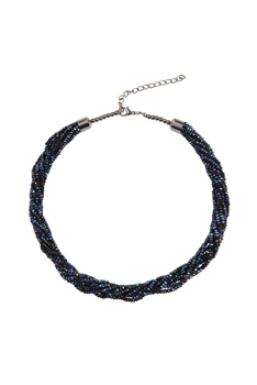 Crystal Beaded Multi Layer Necklaces N3408 - Blue