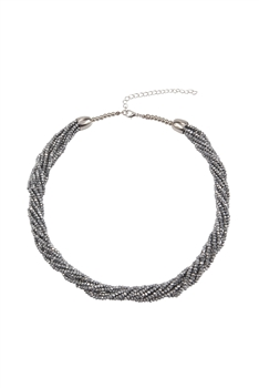Crystal Beaded Multi Layer Necklaces N3408 - Silver