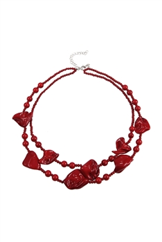 Crystal Beaded Multi Layer Necklaces N3410 - RED
