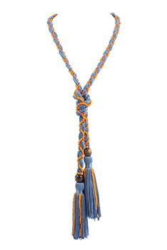 Texile Tassel Wrap Necklace N3411 - Blue