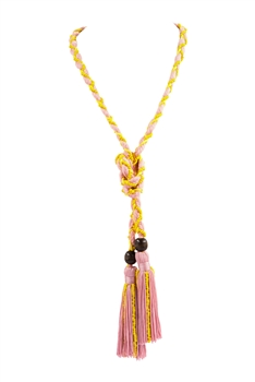 Texile Tassel Wrap Necklace N3411 - Pink
