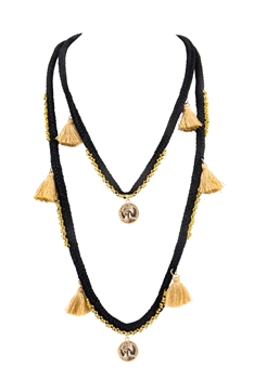 Bohemian Texile Tassels Pendants Necklace N3412 - Black