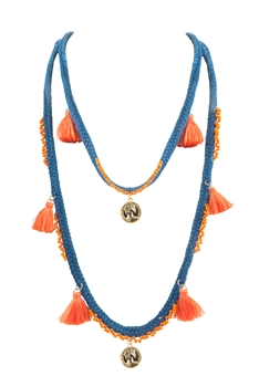 Bohemian Texile Tassels Pendants Necklace N3412 - Blue