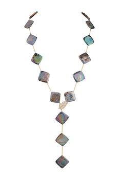 Mother of Pearl Metal Long Necklace N3413 - Purple