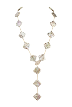 Mother of Pearl Metal Long Necklace N3413 - White
