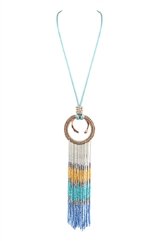 Seed Bead Tassel Circle Metal Necklaces N3424 - Blue