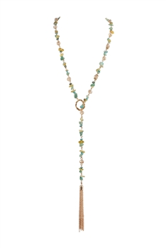 Multi Natural Stone Lariat Necklace N3426