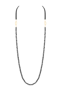 Long Crystal Leatherette Necklaces N3441 - Black