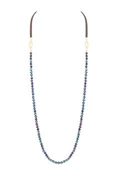 Long Crystal Leatherette Necklaces N3441 - Multi