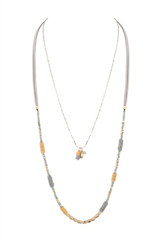 Long Crystal  Bead  Leatherette Necklaces N3442