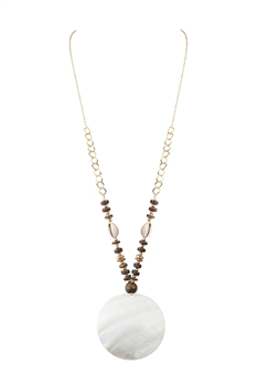 Mother of Pearl Metal Wooden Beads Necklace N3443