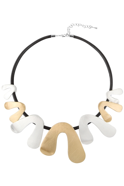Leatherette Metal Choker Necklace N3458