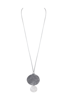 Disc Pendant Metal Necklace N3463