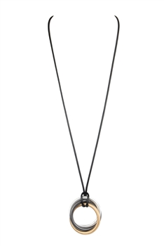 Hollow Circle  Leatherette Necklace N3467